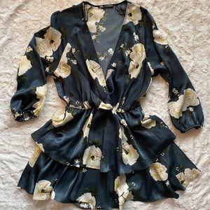 Zara Navy Floral Mini Dress Ruffle Skirt V Neck S
